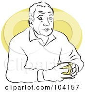 Royalty Free RF Clipart Illustration Of A Man Sitting With Coffee by Prawny