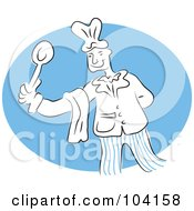 Royalty Free RF Clipart Illustration Of A Happy Chef Holding A Spoon by Prawny