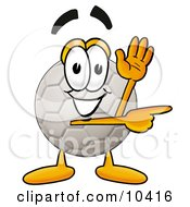 Clipart Picture Of A Soccer Ball Mascot Cartoon Character Waving And Pointing by Toons4Biz