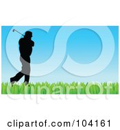 Royalty Free RF Clipart Illustration Of A Silhouetted Golfer Over Blue And Green by Prawny