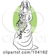 Royalty Free RF Clipart Illustration Of A Happy Bride With Green Flowers by Prawny