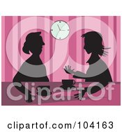 Royalty Free RF Clipart Illustration Of Silhouetted Women Drinking Coffee Over Pink