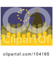 Royalty Free RF Clipart Illustration Of A Silhouetted Man Speaking At A Meeting In Front Of A European Flag