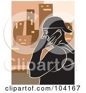 Royalty Free RF Clipart Illustration Of A Silhouetted Guy Talking On A Cell Phone Over Orange by Prawny