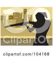 Royalty Free RF Clipart Illustration Of A Silhouetted Woman Shooting A Rifle