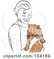 Royalty Free RF Clipart Illustration Of A Happy Woman Holding Her Cat
