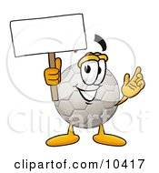 Clipart Picture Of A Soccer Ball Mascot Cartoon Character Holding A Blank Sign by Toons4Biz