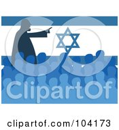 Royalty Free RF Clipart Illustration Of A Silhouetted Man Speaking At A Meeting In Front Of An Israel Flag