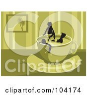 Royalty Free RF Clipart Illustration Of Silhouetted People Soaking In A Coffee Cup by Prawny