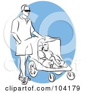 Royalty Free RF Clipart Illustration Of A Man Walking With A Stroller