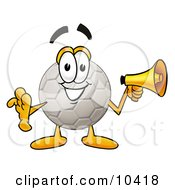 Clipart Picture Of A Soccer Ball Mascot Cartoon Character Holding A Megaphone by Toons4Biz
