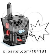 Royalty Free RF Clipart Illustration Of A Happy Walky Talky Character With A Word Balloon