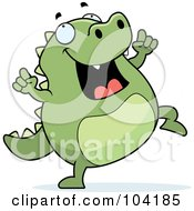 Royalty Free RF Clipart Illustration Of A Lizard Doing A Happy Dance