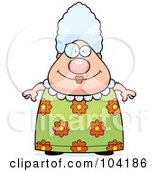 Royalty Free RF Clipart Illustration Of A Chubby Grandma In A Floral Dress by Cory Thoman