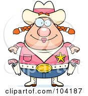 Royalty Free RF Clipart Illustration Of A Chubby Female Cowgirl Sheriff by Cory Thoman