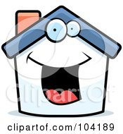 Royalty Free RF Clipart Illustration Of A Happy White Home