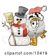 Clipart Picture Of A Soccer Ball Mascot Cartoon Character With A Snowman On Christmas by Toons4Biz