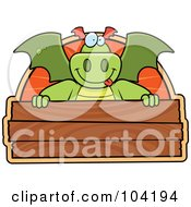 Royalty Free RF Clipart Illustration Of A Goofy Dragon Over A Wooden Sign