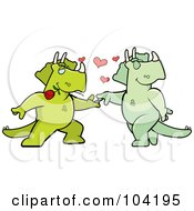Royalty Free RF Clipart Illustration Of A Romantic Triceratops Couple Dancing by Cory Thoman