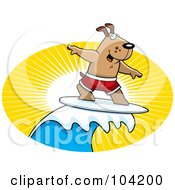 Royalty Free RF Clipart Illustration Of A Surfer Dog Riding A Wave At Sunset by Cory Thoman