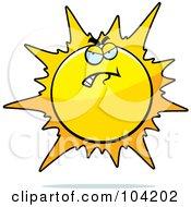 Royalty Free RF Clipart Illustration Of A Grouchy Or Bad Sun by Cory Thoman