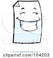 Royalty Free RF Clipart Illustration Of A Piece Of Paper With A Smile by Cory Thoman