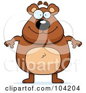 Royalty Free RF Clipart Illustration Of A Chubby Bear by Cory Thoman