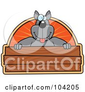 Royalty Free RF Clipart Illustration Of A Goofy Wolf Over A Wooden Sign by Cory Thoman