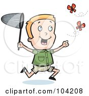 Royalty Free RF Clipart Illustration Of An Energetic Blond Boy Chasing Butterflies With A Net by Cory Thoman