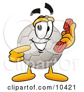 Clipart Picture Of A Soccer Ball Mascot Cartoon Character Holding A Telephone by Toons4Biz