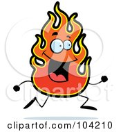 Royalty Free RF Clipart Illustration Of A Happy Flame Running