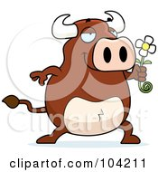 Royalty Free RF Clipart Illustration Of A Romantic Bull Holding Out A Daisy by Cory Thoman