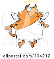 Royalty Free RF Clipart Illustration Of A Chubby Orange Angel Cat by Cory Thoman