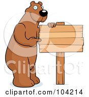 Royalty Free RF Clipart Illustration Of A Tall Bear Pointing To A Blank Wood Sign by Cory Thoman