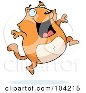 Royalty Free RF Clipart Illustration Of A Happy Orange Cat Leaping