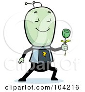 Royalty Free RF Clipart Illustration Of A Romantic Alien Giving A Green Rose by Cory Thoman