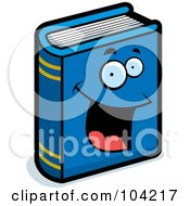 Royalty Free RF Clipart Illustration Of A Happy Blue Book