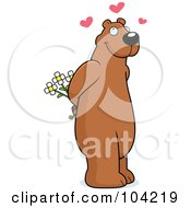 Royalty Free RF Clipart Illustration Of A Sweet Amorous Bear Holding Flowers Behind His Back