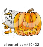 Clipart Picture Of A Soccer Ball Mascot Cartoon Character With A Carved Halloween Pumpkin by Toons4Biz
