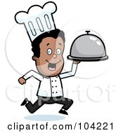 Royalty Free RF Clipart Illustration Of A Black Chef Man Running With A Platter by Cory Thoman