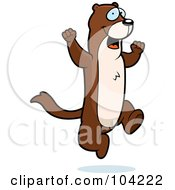 Royalty Free RF Clipart Illustration Of A Happy Jumping Weasel by Cory Thoman