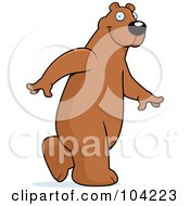 Royalty Free RF Clipart Illustration Of A Tall Bear Walking Upright by Cory Thoman