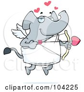 Royalty Free RF Clipart Illustration Of A Cupid Elephant Taking Aim With An Arrow by Cory Thoman