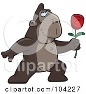 Royalty Free RF Clipart Illustration Of A Romantic Ape Presenting A Single Red Rose by Cory Thoman