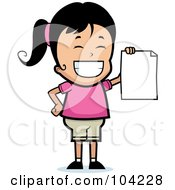 Royalty Free RF Clipart Illustration Of A Grinning Black Haired Girl Holding Up A Blank Report Card