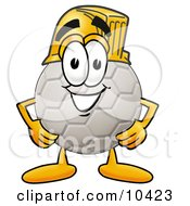 Clipart Picture Of A Soccer Ball Mascot Cartoon Character Wearing A Helmet by Toons4Biz