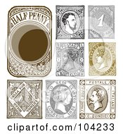 Royalty Free RF Clipart Illustration Of A Digital Collage Of Retro Stamp Designs by BestVector