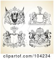 Royalty Free RF Clipart Illustration Of A Digital Collage Of Medieval Animal Crest Designs