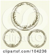 Royalty Free RF Clipart Illustration Of A Digital Collage Of Three Wreath Designs by BestVector