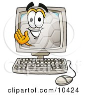 Clipart Picture Of A Soccer Ball Mascot Cartoon Character Waving From Inside A Computer Screen